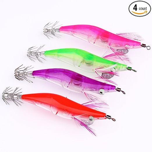 4 Pcs 10cm Shrimp Squid LED Light Fishing Lure Prawn H New Kits O4P5 Tackle