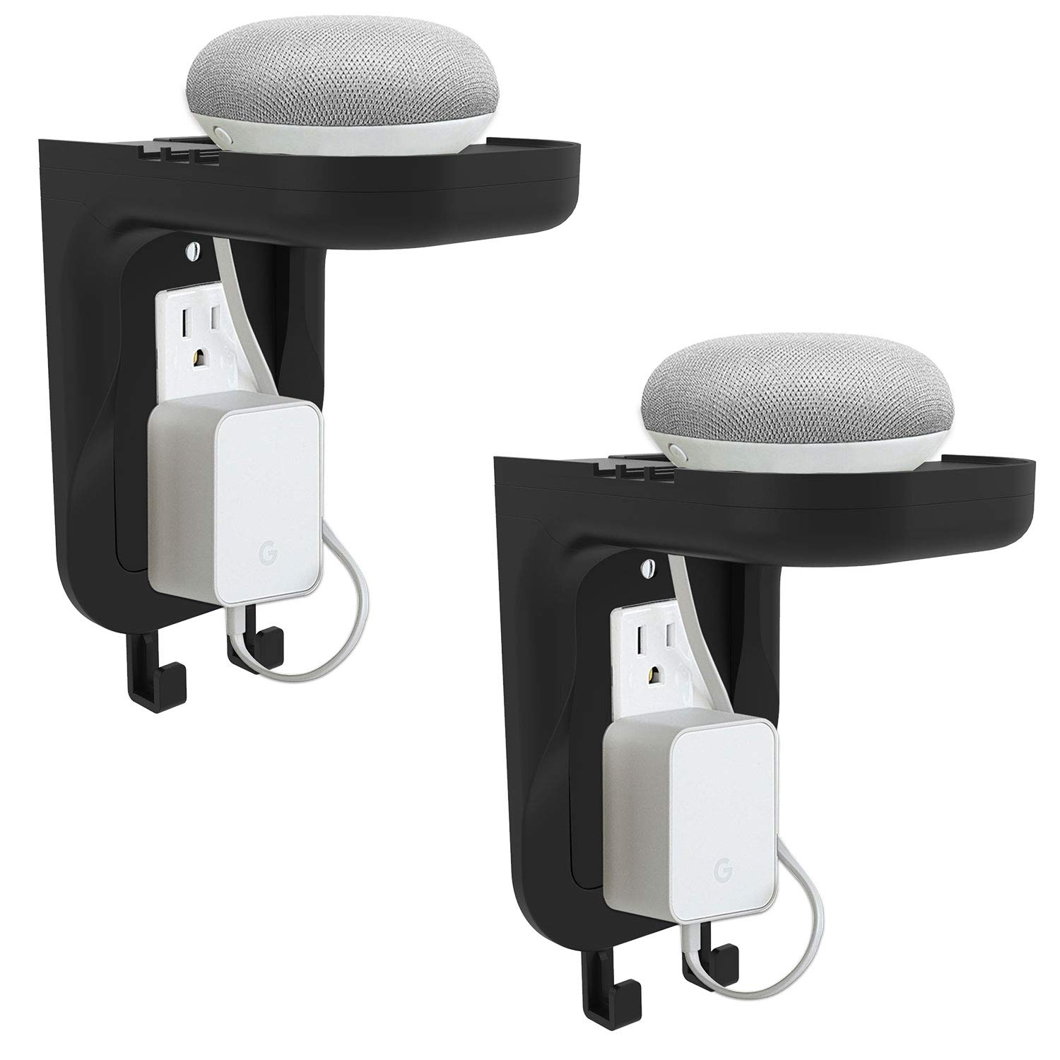 Google Home Black Speaker up to 20lbs with Cable Management and Detachable Hooks 2 Packs OSH002-B WALI Wall Bathroom Shelf Standard Vertical Duplex GFCI D/écor Outlet Charging for Cell Phone Dot
