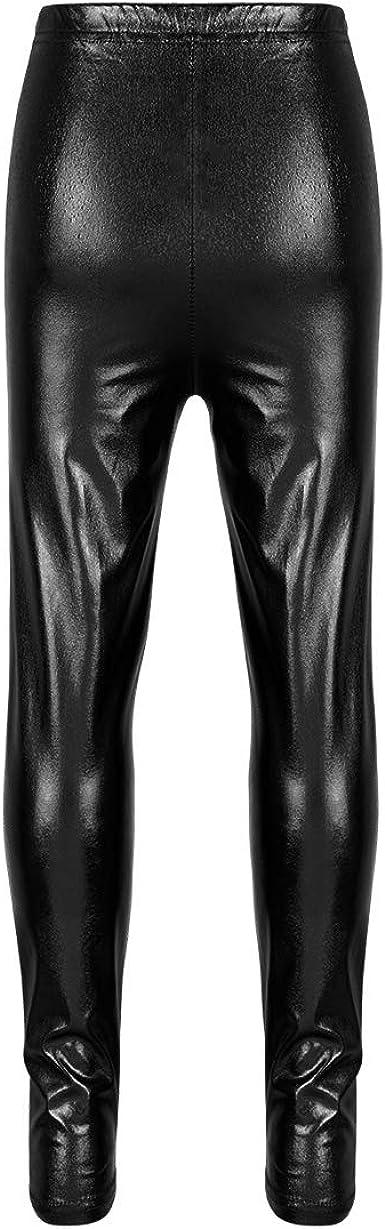 ranrann Kids Girls Shiny Metallic Dance Long Pants Performance Athletic Jazz Ballet Sports Leggings