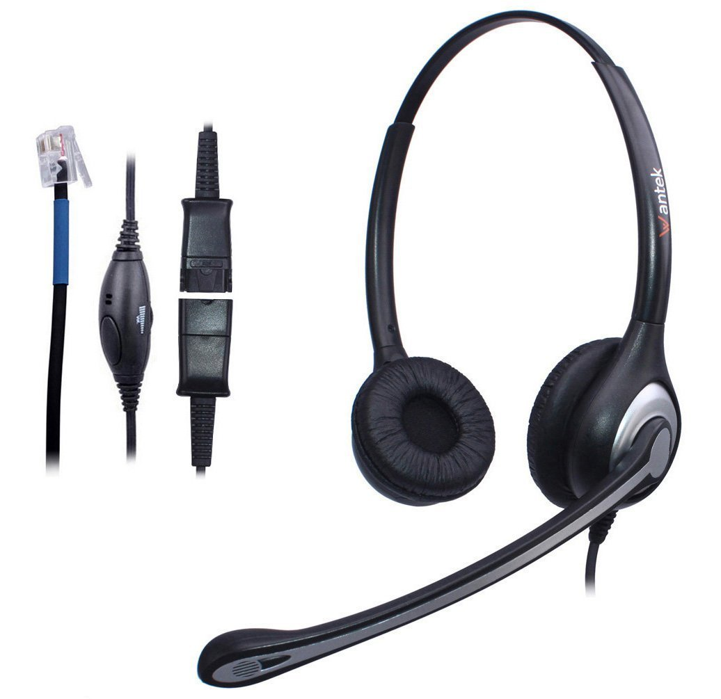 Wantek Binaural Call Center Telephone Headset Headphone with Mic and Quick Disconnect for Cisco Unified IP Phones 7931G 7940G 7941G 7942G and Plantronics M10 MX10 Vista Modular Adapters(602QC2)