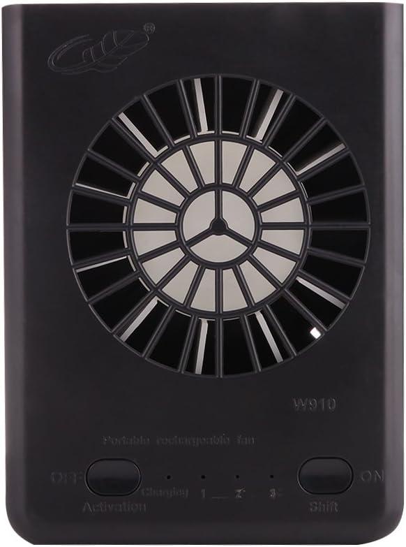 WXX GONGTIAN W910 Ventiladores portátiles Recargables USB multifuncionales con Correa for el Cuello (Negro) (Color : Black)