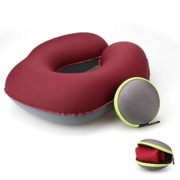 KOYOSO Almohada Inflable de Acampada para el Cuello, Almohadas Hinchable de Viaje con Estuche de Transporte - Tipo U - ROSEO