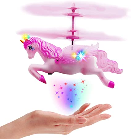 New Flying Unicorn Flying Horse Flying Ball RC Toys Drone Helicopter Hand Controlled Inductive with Remote Control Light Up Flying Fairy Toy USB Rechargeable Girls Boys Kids Unicorn Party Favors Gifts
