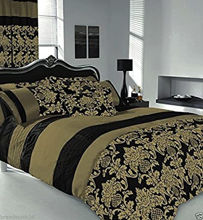 Apachi King Size Duvet Cover Bedding Set Black Gold Amazon Co Uk