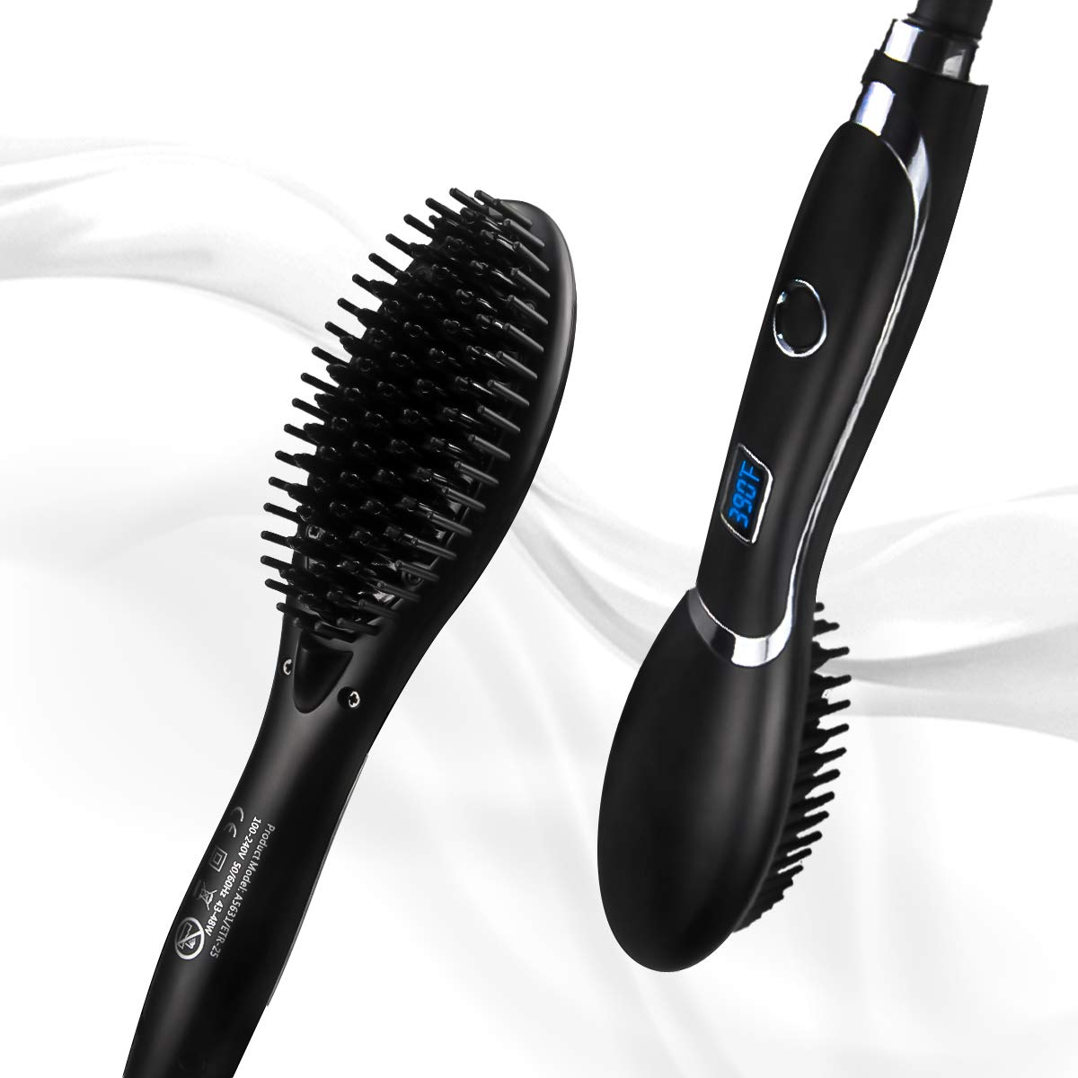Hair Straightening Brush Corded Veru ETERNITY Hair Straightener Brush with LED Display and MCH
