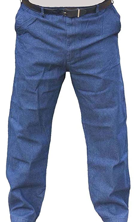 The Senior Shop Men's Full Elastic Waist Denim Jeans with Loops, Zipper and Button 32/30 Navy