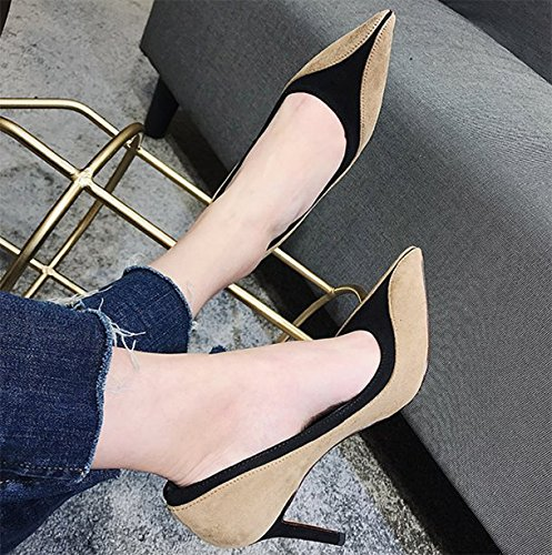 Ladies Shoes With High Princess Leisure Fine Lady 37 MDRW Heeled Shoes Work Elegant Match Color Shoes Pointed Spring All Apricot 8Cm FHxqP6w