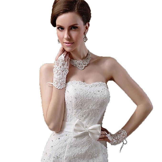 Santfe exquisito encaje diamante blanco/rojo guantes de novia sin dedos de flores para boda