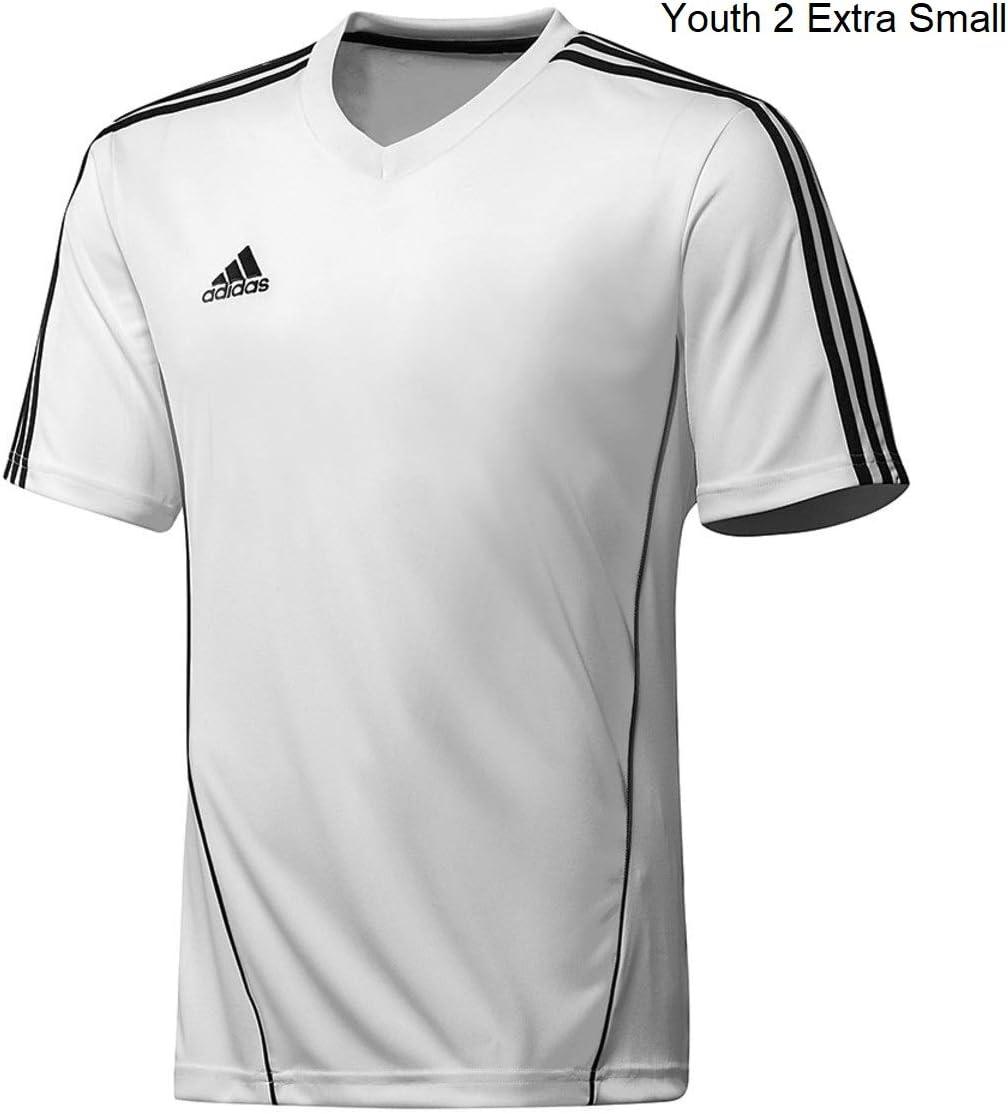 White Adidas Youth Athletic Performance Climalite T-Shirt Dark Gray