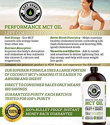 Left Coast Performance MCT Oil, Huge 32 Oz. Premium Blend Is Easier To Absorb and Digest. Use This Pure MCT Oil for Bulletproof Coffee, Smoothies and Salads. Best MCT, Pharmaceutical Grade. Made in USA.