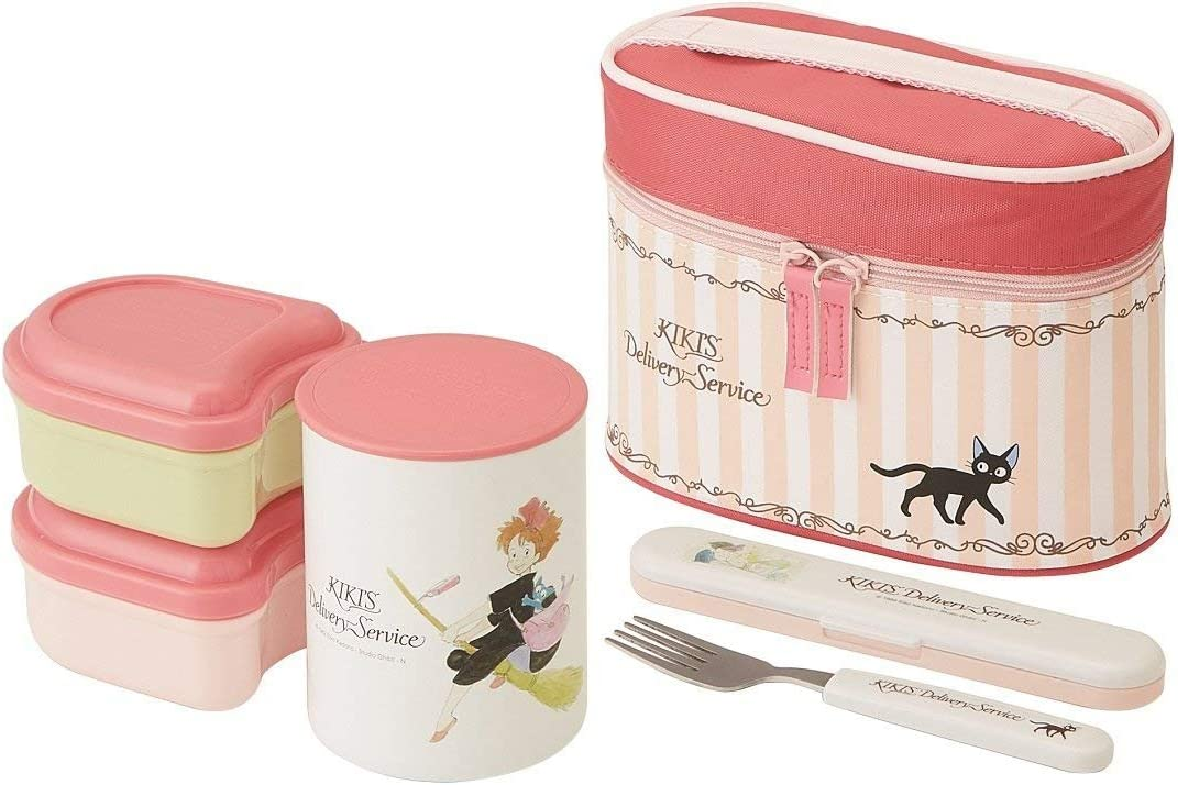 Skater Kiki Delivery Service Thermal Lunch Box Set (Food Containers, Fork Bag) KCLJC6 Watercolor
