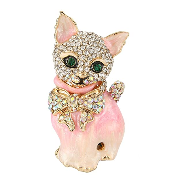 50s Jewelry: Earrings, Necklace, Brooch, Bracelet EVER FAITH Plump 3D Cat Pet Austrian Crystal Enamel Brooch $16.99 AT vintagedancer.com