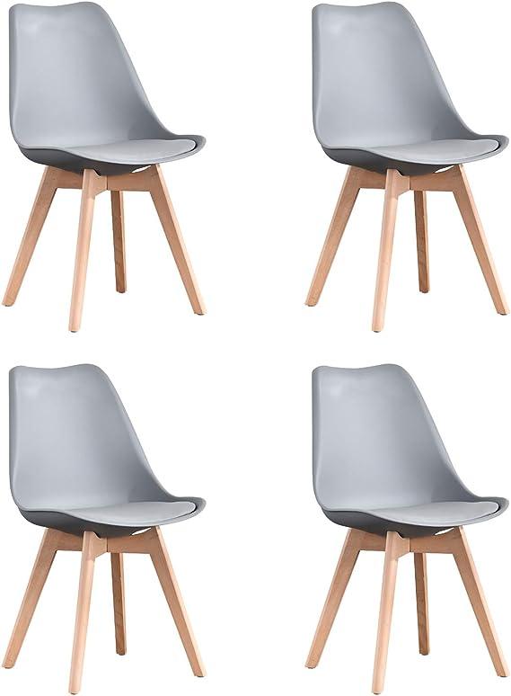 Imagen deNaturelifestore Pack de 4 sillas de comedor / oficina con madera de haya Piernas Para Comedor / Sala de estar / Café / Restaurante, Gris