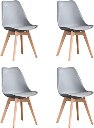 Naturelifestore Pack de 4 sillas de comedor / oficina con madera de haya Piernas Para Comedor / Sala de estar / Café / Restaurante, Gris: Amazon.es: Hogar