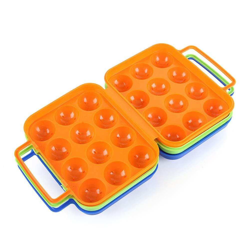 Soporte para huevos con asa plegable port/átil 12 contenedores para huevos y soporte para huevos para cocinar al aire libre azul