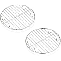 7½ Inch Steaming Cooking Racks, E-far Stainless Steel Round Baking Cooling Rack Set of 2, Multi-Purpose for Canning Air…
