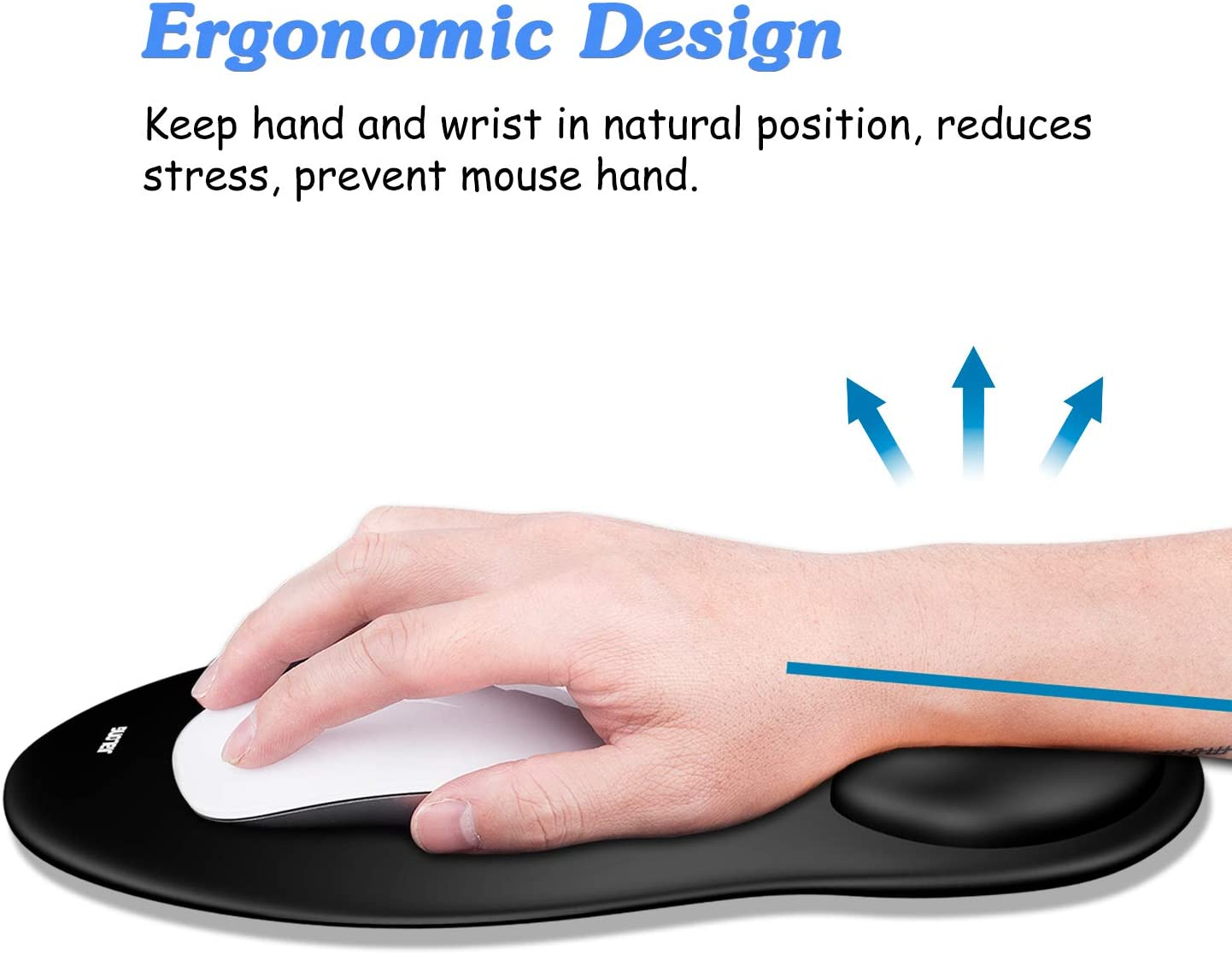 JIALONG Mouse Pad with Wrist Support Classic Black Office Working Silicone Ergonomic Mouse Mat with Wrist Rest Suitable for Games