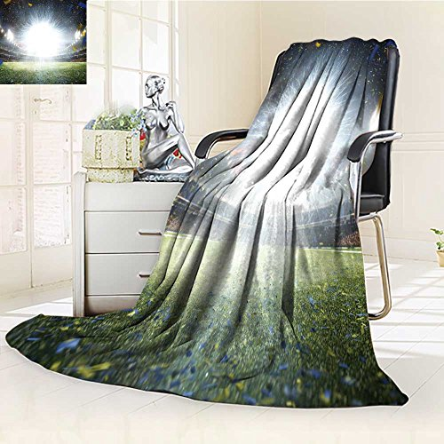 300 GSM Fleece Blanket empty night grand soccer arena with flash Super Soft Warm Fuzzy Lightweight Bed or Couch Blanket(60''x 50'') by Jiahonghome