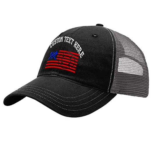 Custom Firefighter American Flag Unisex Adult Snaps Cotton Richardson  Unstructured Front and Mesh Back Cap Adjustable 6730e9c57f9