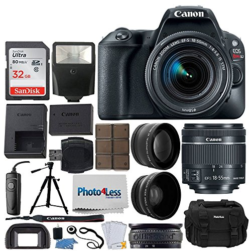 Cheap Canon EOS Rebel SL2 DSLR Camera + EF-S 18-55mm f/4-5.6 is STM + 58mm 2X Telephoto & Wide Angle Lens + 32GB Memory Card + Slave Flash + Quality Tripod + RS-60 Remote Switch – Full Accessory Bundle