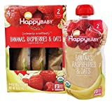 HappyFamily - HappyBaby Organic Clearly Crafted Stage 2 Baby Food 6+ Months Bananas, Raspberries & Oats - 4 Pouches