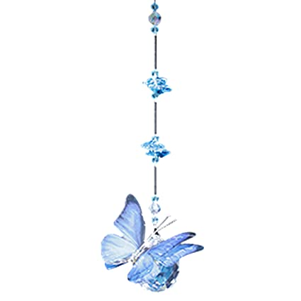 Amazon.com: Blue Morpho Butterfly Figurine with 30mm Crystal Ball ...