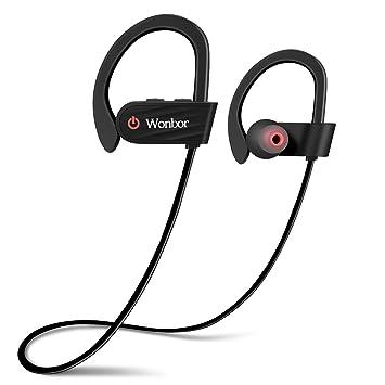 Wonbor auriculares Bluetooth, auriculares inalámbricos 4.1 deporte auriculares, IPX7 resistente al agua auriculares estéreo con micrófono para gimnasio, ...