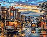 Golden Maple DIY Pre-Printed Canvas Oil Painting Gift Adults Kids Paint Number Kits Home Decorations- Tram In Street 16*20 inch