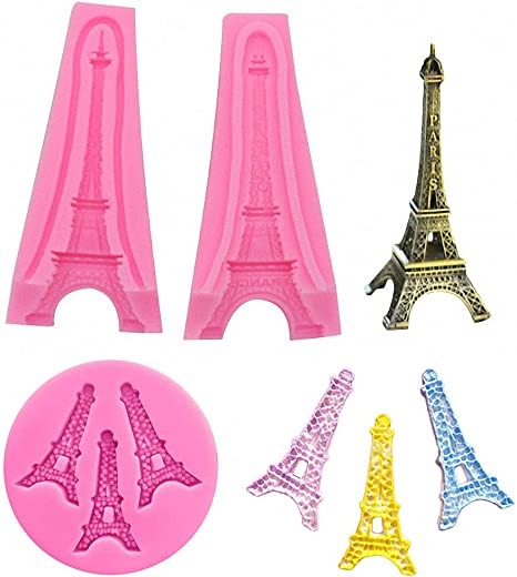 Eiffel Tower 3 Cavity Silicone Mold for Fondant Gum Paste and Chocolate