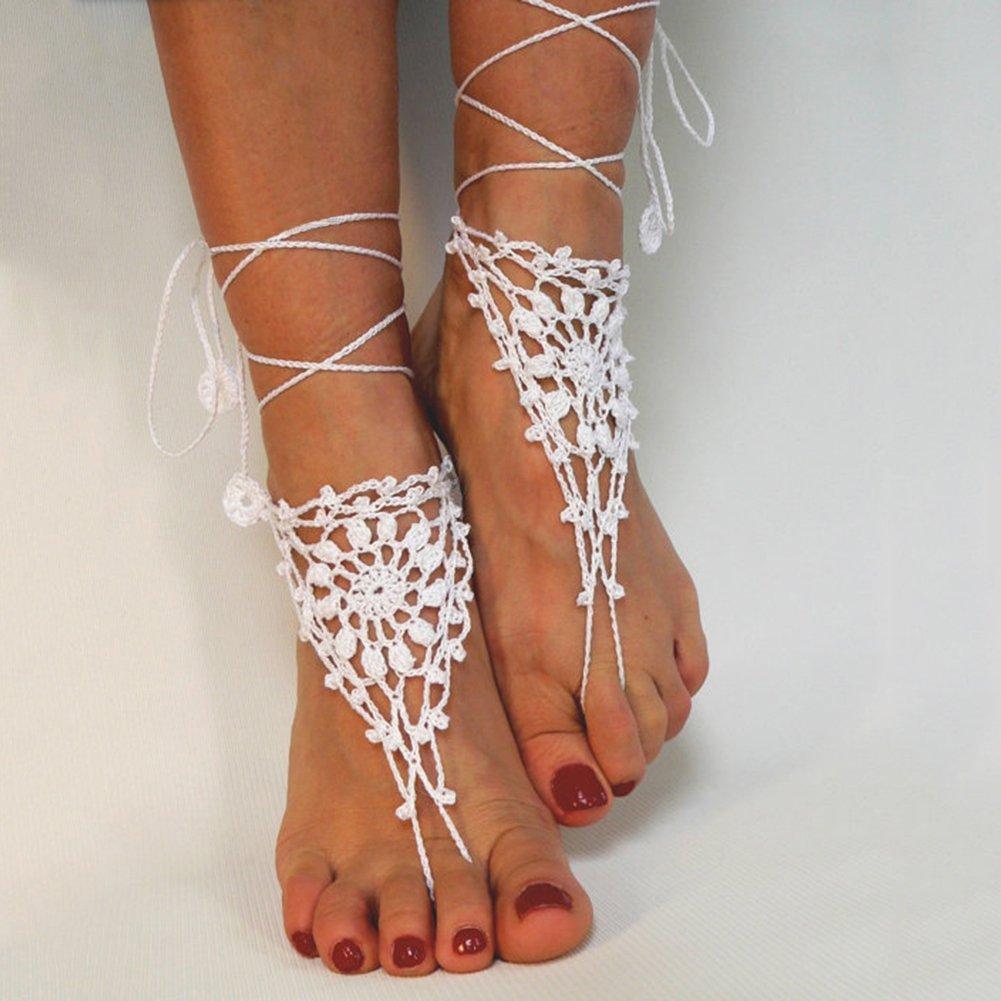 Steellwingsf Tricot Coton pour pieds nus Sandales de plage Cha/îne de cheville Bracelet Pied Femme Taille unique blanc Coton