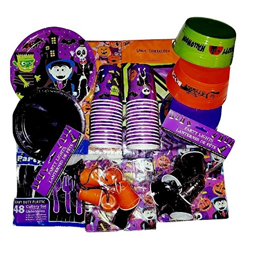 Halloween Home, Classroom or Event Party Bundle, Cups, Small Treat Buckets, Table Cloth, Napkins, Utensils, Whimsical Plates and Decoration