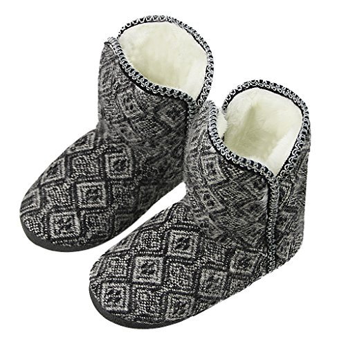 Womens Knit Sherpa Boot (Winter Indoor Slipper Socks, Women Girls Thick Fuzzy Sherpa Fleece Lined Warm Slip on Bootie Slippers Cozy Ankle Snow Boots Knit House Socks Christmas Stockings with Non-Skid Gripper Suede Soles Gift)