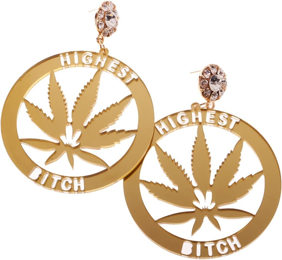 F Fityle Pendientes Mujer Pendientes Colgantes Super Big Leaf Gold Marijuana Night Club Earrings