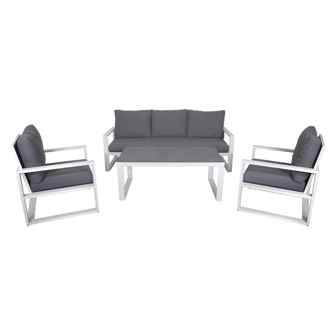 Gartenlounge OUTLIV. Pina Colada Sofagruppe 4-teilig Aluminium weißgrau/Kissen anthrazit 701259-874173