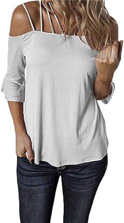 Correas Espaguetis para Mujer Tops De Hombro Frío Camisa De Manga Media Blusa: Amazon.es: Ropa y accesorios
