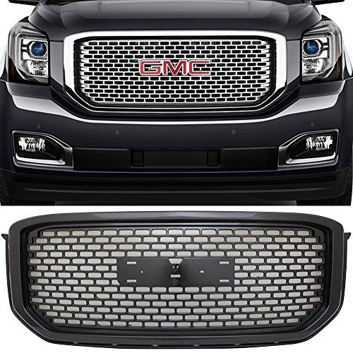 Grille Fits 2015-2018 GMC Yukon XL | Mesh Style Front Grille Grill ABS Black by IKON MOTORSPORTS ()