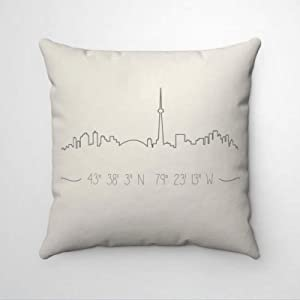 DONL9BAUER Decorative Square Throw Pillow Covers City Skyline and Coordinates Pillowcase Personalized City Skyline Cushion Cover Farmhouse Home Decor for Sofa Couch 18x18