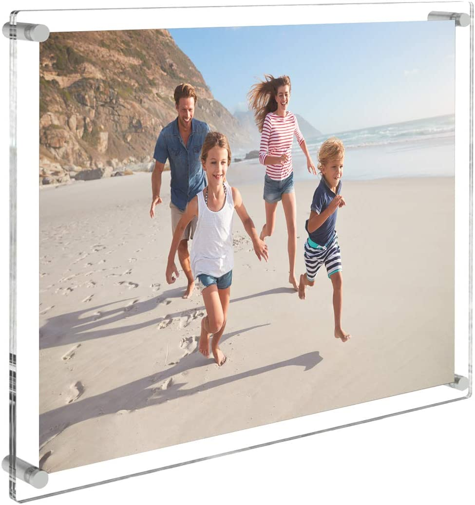 AITEE Acrylic Floating Picture Frame 11x14,Clear Photo Frame Wall Mount,Display Lucite Photo Frames for Office/Home/Living Room. Full Frame Size13x16