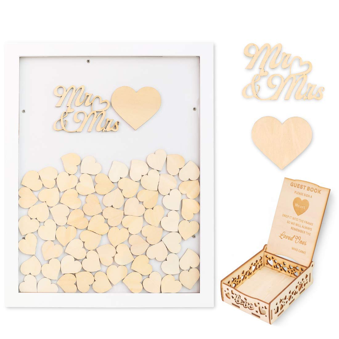 Creawoo Wooden Guest Book Frame Wedding Drop Box (Detachable Back) with 100 Blank Hearts and Free Guest Sign Box for Wedding Gifts Friends Present (White Color) by Creawoo