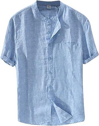 Camisa Hombre De Manga Corta Delgado Casual Ligero Camisa De Lino Sin Cuello Celeste 3XL: Amazon.es: Ropa y accesorios