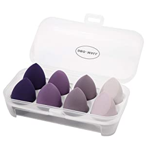 DBO-MALL Dry And Wet Use Blender Puffs(8pcs)-Purple Serious Blender Sponge 3D Beauty Egg For Make Up.