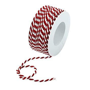 Kordel 2-farbig gedreht rot//weiß ohne Draht 2-4-6mm //// 2mm// 50 Meter