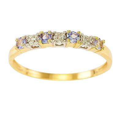 Kareco 9ct Yellow Gold Tanzanite And Diamond Set 1/2 Eternity Ring D3dHTj3mM
