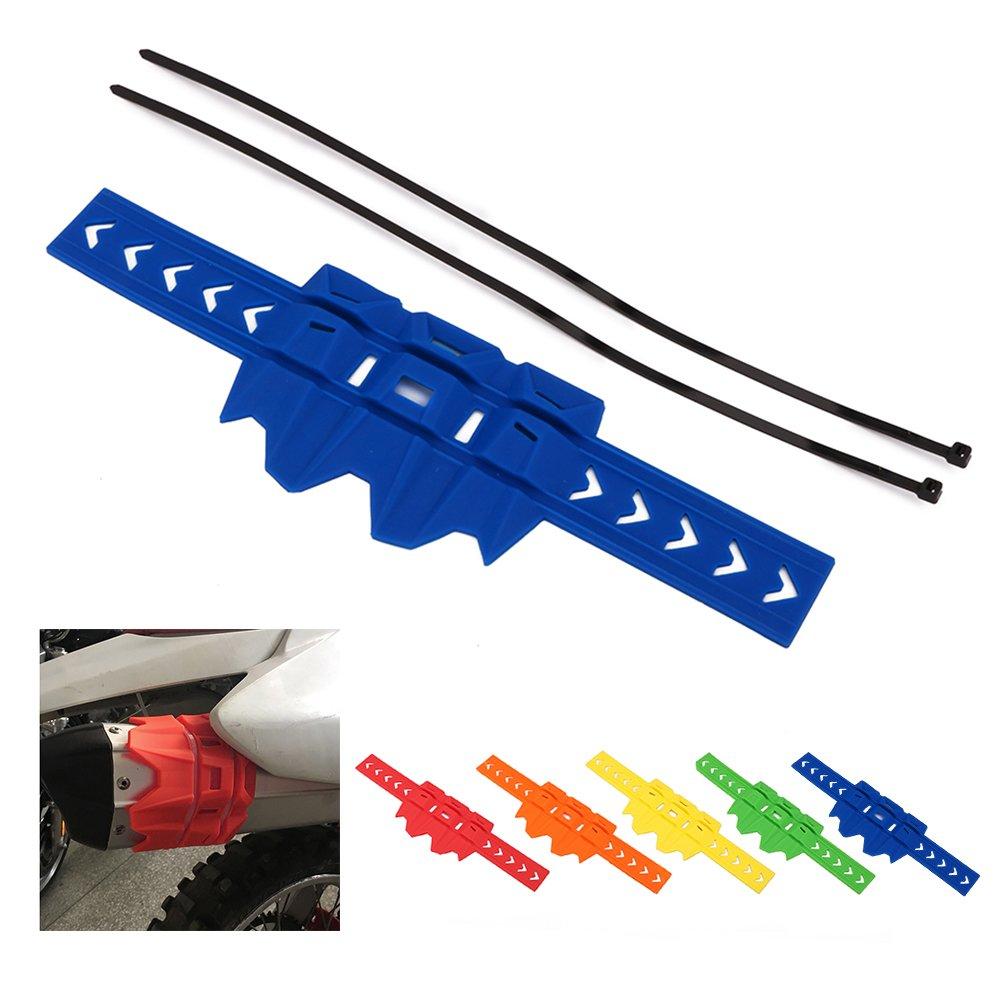 Fast Pro Protector de Tubo de Escape para Motocicleta, de Goma, anticalor, para Yamaha YZ80 85 125 250 YZ426F YZ450F WR 250F 426F 450F, Color Azul