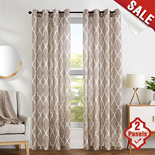 Linen Curtains 84 inch 2 Panels Living Room Window Curtains Bedroom Kitchen Drapes 2 Panels Taupe on Flax ()