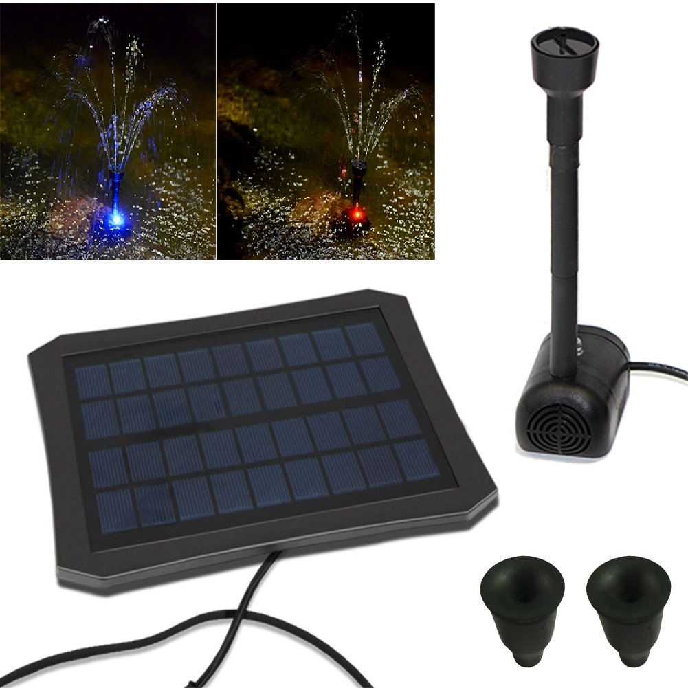 Garden Solar Water Pump Colorful Solar Fountain Water Pump Outdoor Fountain Panel with 2 Nozzles