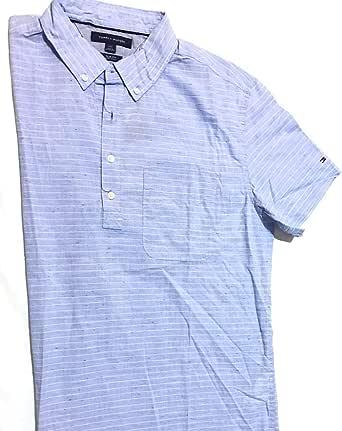 تومي هيلفيجر قميص ازرق فاتح وابيض قبة قميص -رجال