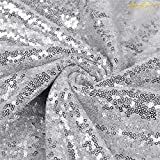 ShiDianYi 12 Feet 4 Yards Sequin Fabric, by The Yard, Sequin Fabric, Tablecloth, Linen, Sequin Tablecloth, Table Runner (Silver)