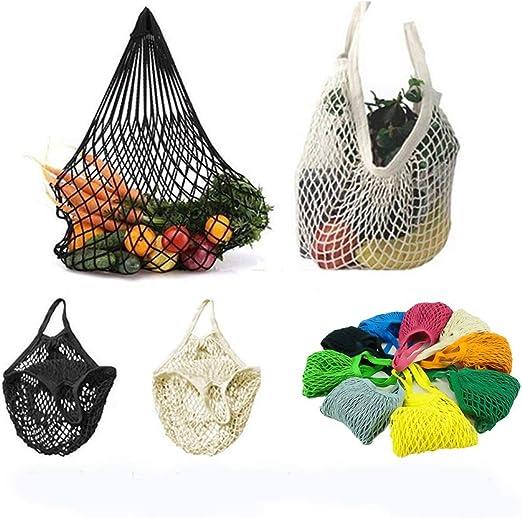 Creatiee Reusable Mesh Market Tote 5Pcs Net Cotton String Shopping Bag