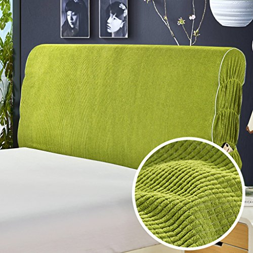 Taiyucover Dustproof Solid Color Corduroy Bed Headboard Covers,Anti-mite Refurbish Bed Head Protectors;Bedside Bedroom Slipcovers Decors (Green, Queen)